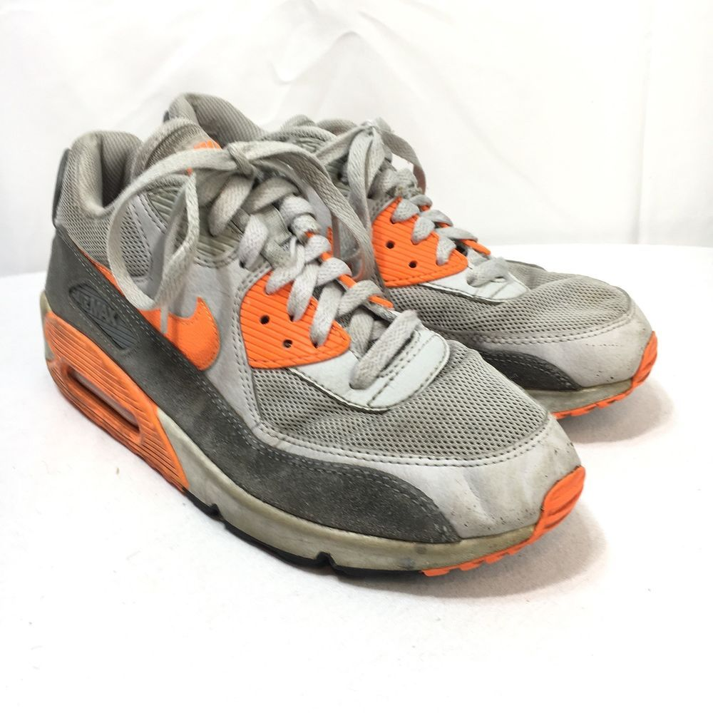 pretty nice 570c1 cfd52 Nike Air Max 90 Essential Womens 8.5 Gray Orange Lace Up ...