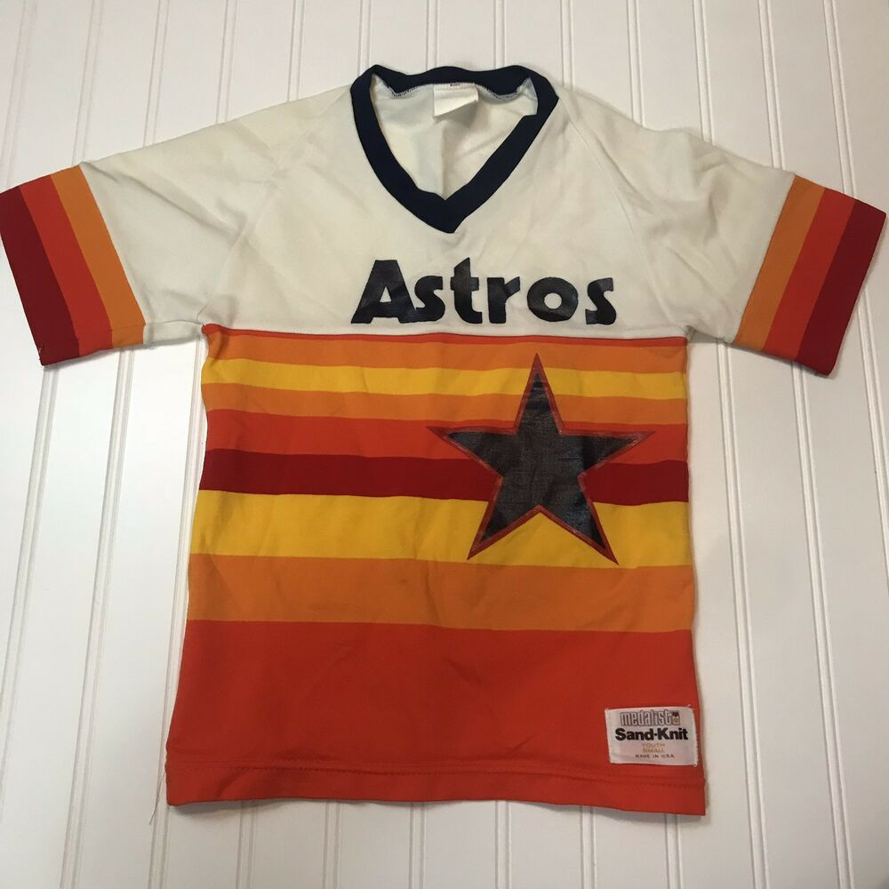 buy popular 9303a f51bb Vintage Youth Medalist Sand-Knit Houston Astros Jersey Small ...