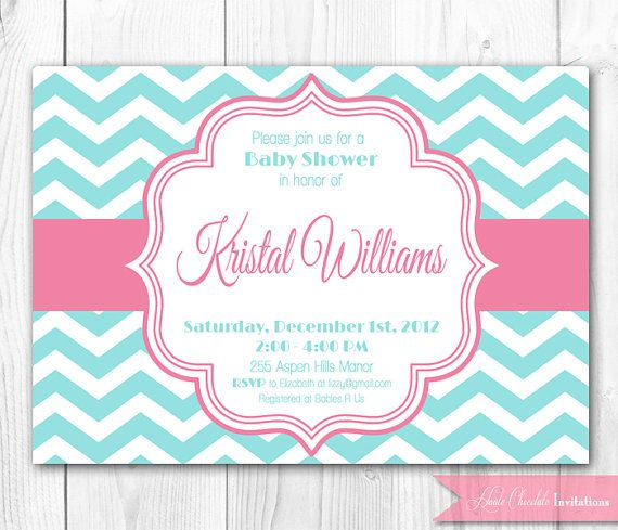 Baby shower invitation pink aqua chevron diy printable baby baby shower invitation pink aqua chevron diy printable baby shower or bridal shower invite coordinating decor package available via etsy filmwisefo