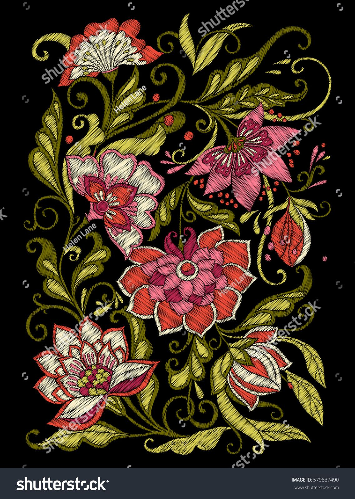 Embroidery embroidered design elements with flowers and leaves in