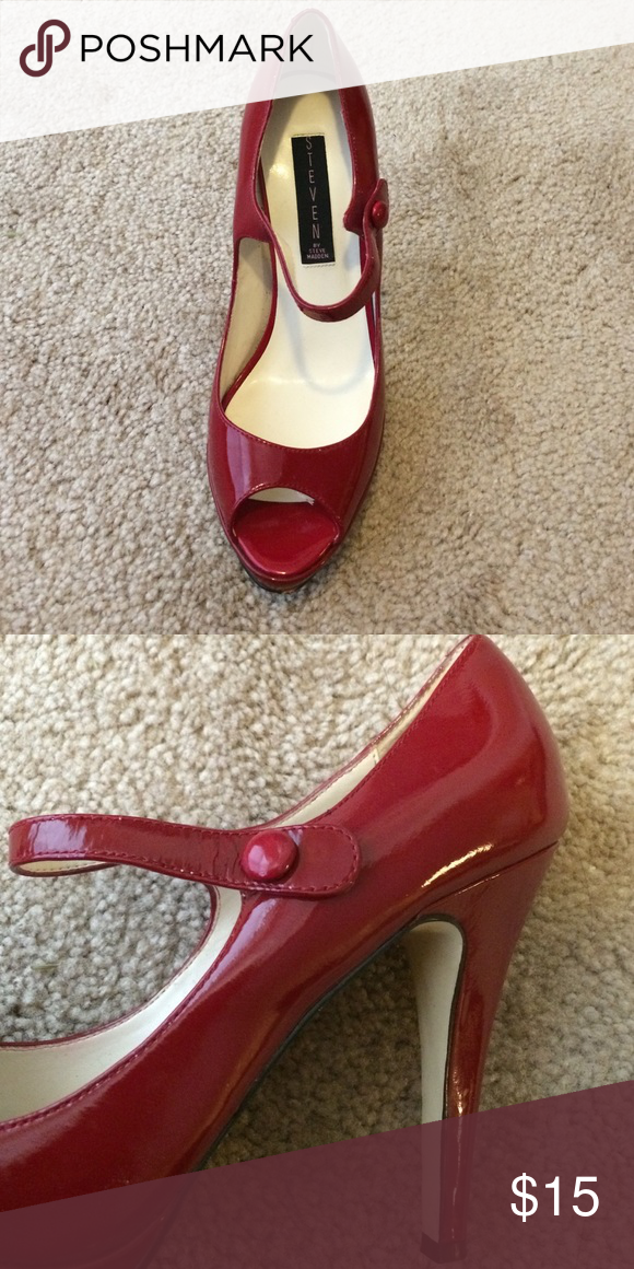564a982430f Red Steve Madden Mary Jane shoes Red Mary Janes Steve Madden Shoes Heels