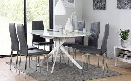 Blake Round White High Gloss And Glass Extending Dining Table With