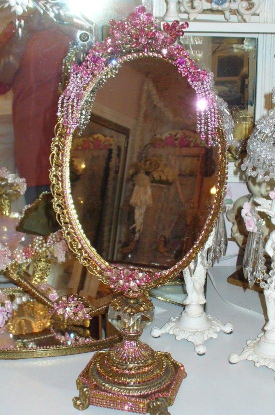 Bejeweled Elegant Amp Opulent Standing Vanity Mirror From