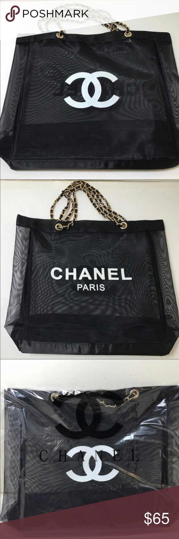36befb3c4b85 Chanel VIP gift mesh tote bag Chanel shopping bag CHANEL Bags Totes ...