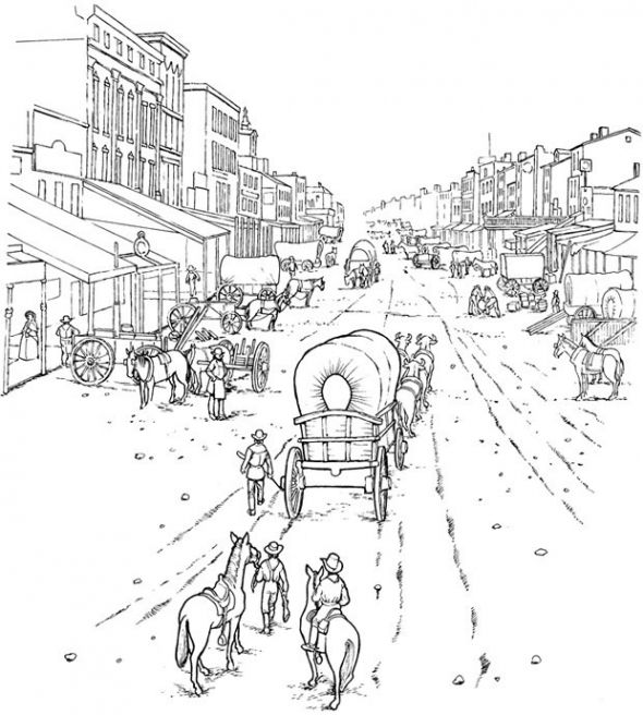 Western Coloring Pages | covered wagon coloring page - pioneer ...
