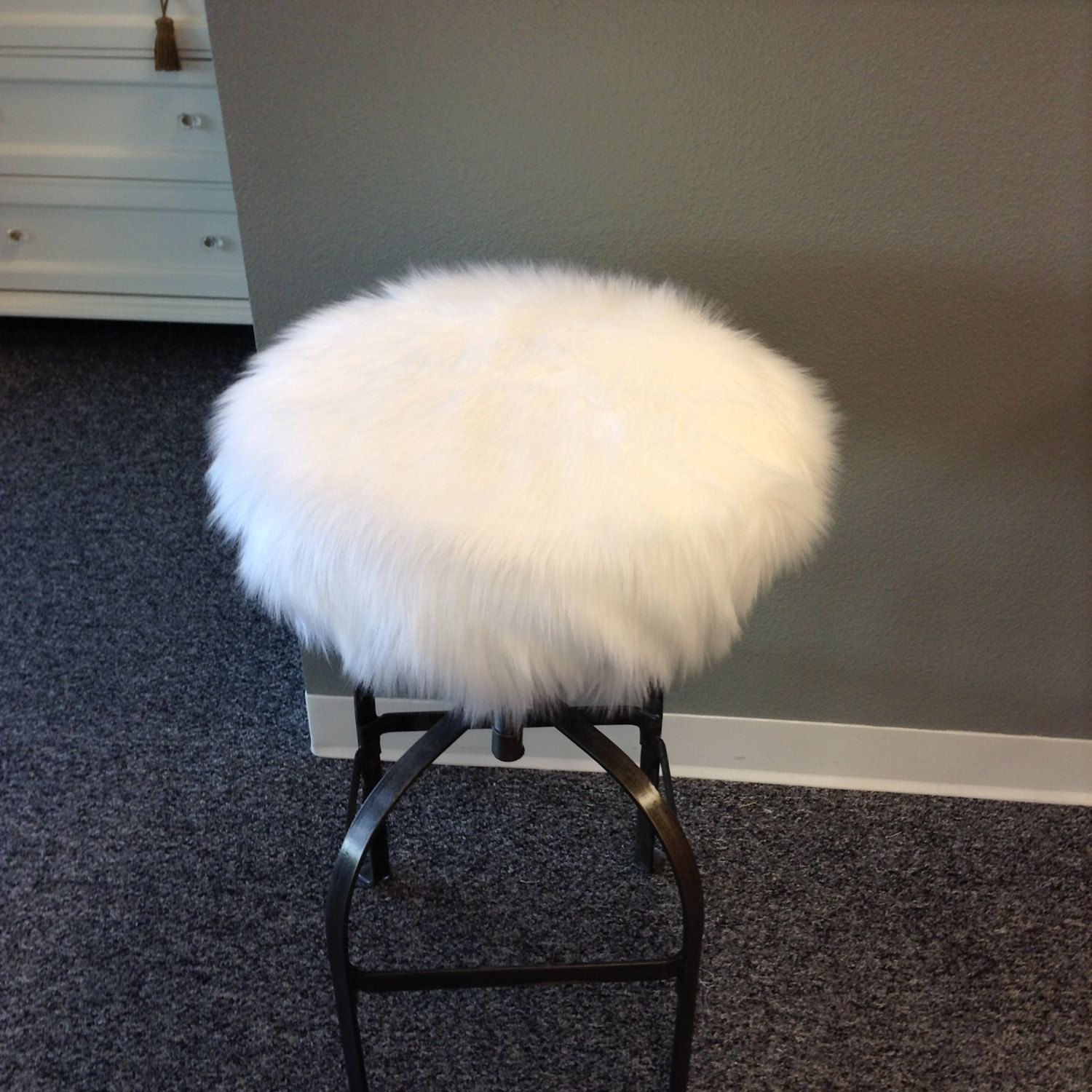 Faux Fur Luxury Shag Round Barstool Cover Kitchen Counter Stool Seat Cover Vanity Stool Cover Removable White Faux Fur Cover Cover Only Bar Stool Covers Round Bar Stools Stool Covers