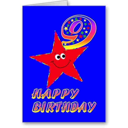Red Star Happy 9th Birthday Card Twinkle Twinkle And Birthdays