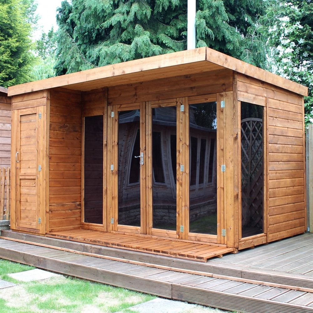 Mercia Garden Room Summerhouse with Side Shed 12ft x 8ft | Room ...