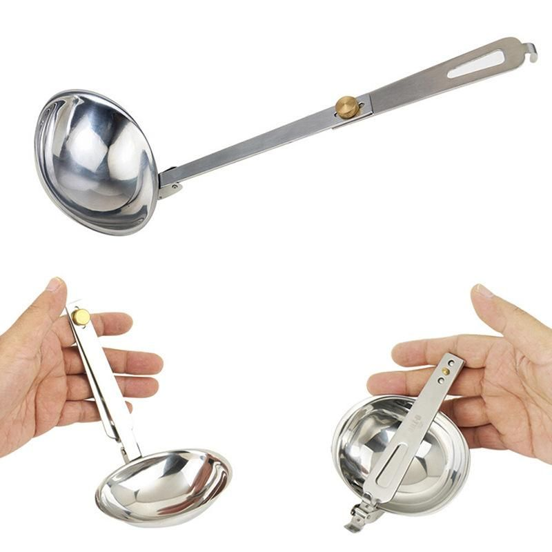 Ipree Stainless Steel Outdoor Camping Folding Soup Spoon