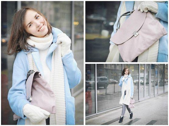 Missguided Fluffy Coat, Kokosina Bag, Zara Scarf, H&M Jeans