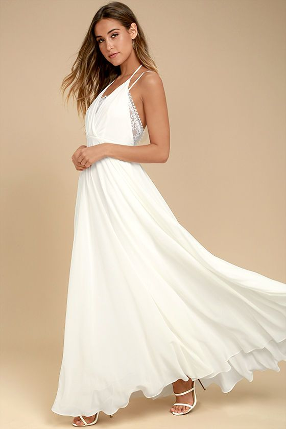 b580a57fd19f Enjoy life's milestones in the Celebrate the Moment White Lace Maxi Dress!  Lightweight woven poly shapes a tying halter neckline (with crisscrossing  ...