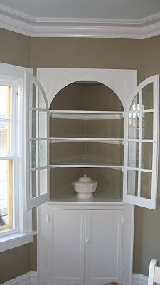 Lovely Corner Hutchcabinetcupboardpainted White So Much Fascinating Corner Hutch Cabinet For Dining Room Review