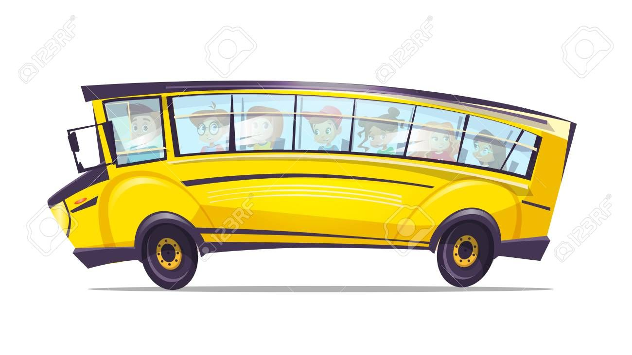 Vector Cartoon School Bus For Pupil Kids Yellow Retro Vehicle