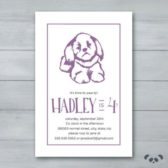 Puppy Birthday Party Invitation    Puppy by PandafunkCreations