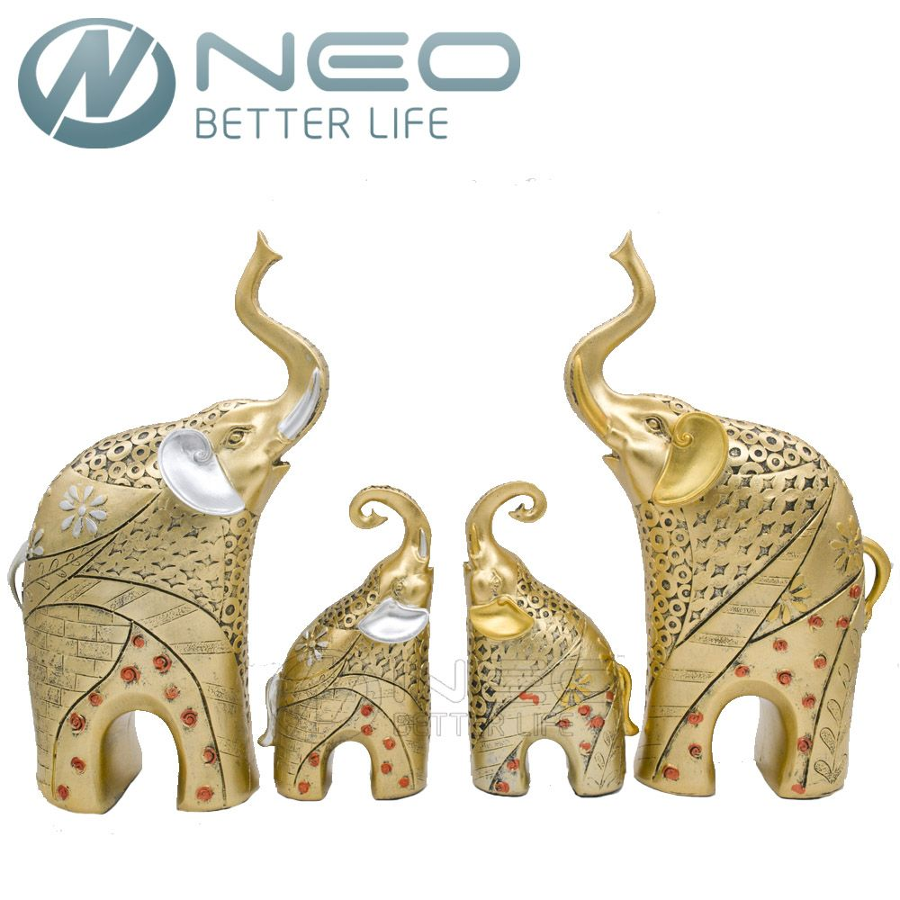 NEO 2 Pcs/ Pair Resin Mother and Child Elephant Statue Figurine ...