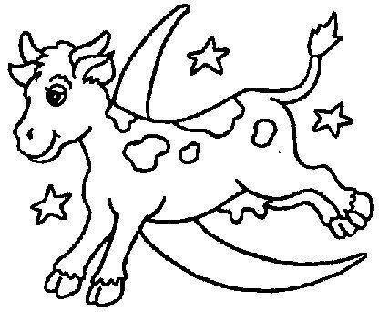 A Cow Jumping Over The Moon Printable Moon Coloring Pages Cow