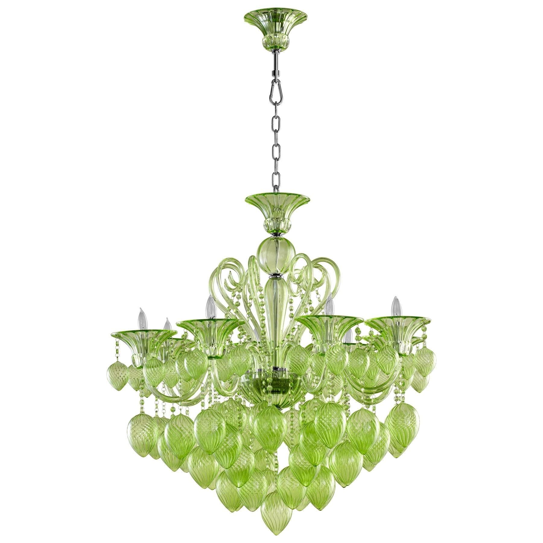 Bella Vetro Eight Light Chandelier Grey chrome Art Glass