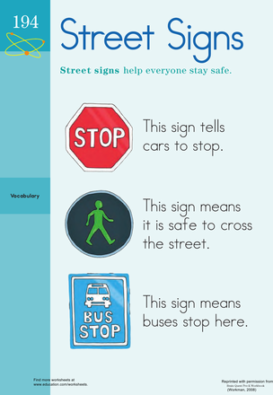 Worksheets: Street Sign Savvy