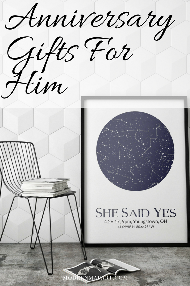 Custom star maps make a great anniversary gift for him  Give him a