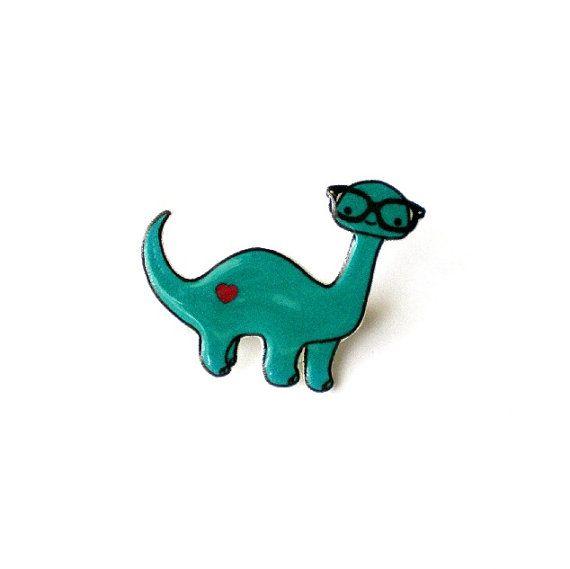 Nerdysaur Brooch Pin by HelloAmor on Etsy