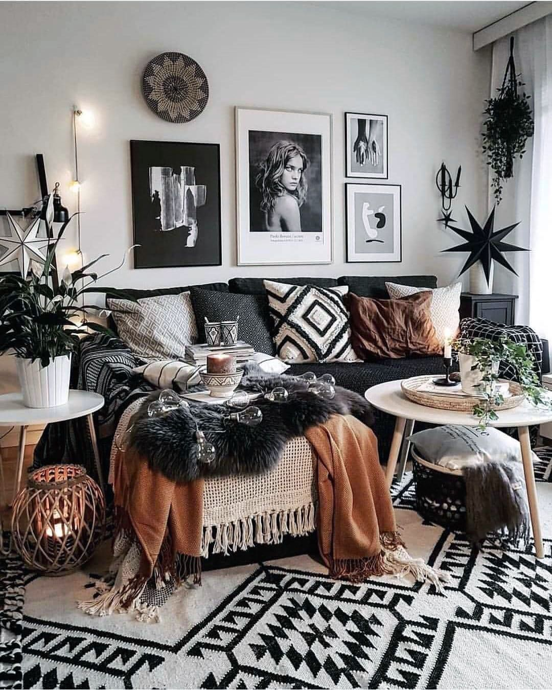 Cozy Black Gold And White Living Room For Your Home Bohemian Style Living Room Boho Living Room Living Room Designs