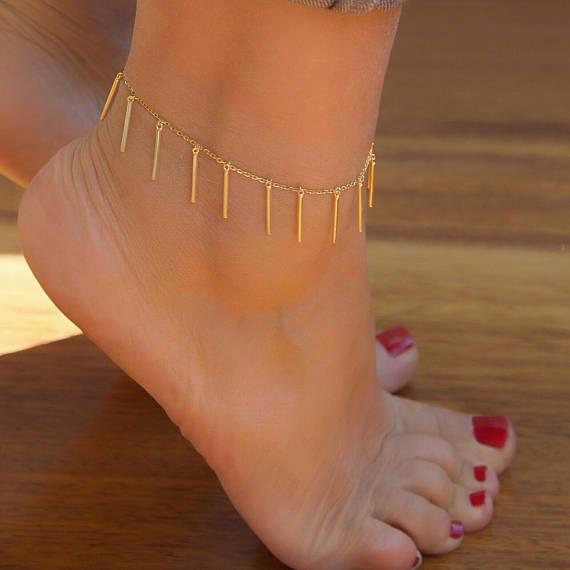 dainty boho anklet thin gold anklet slave ankle bracelet gold slave anklet foot chain ankle bracelet Slave anklet gold chain anklet