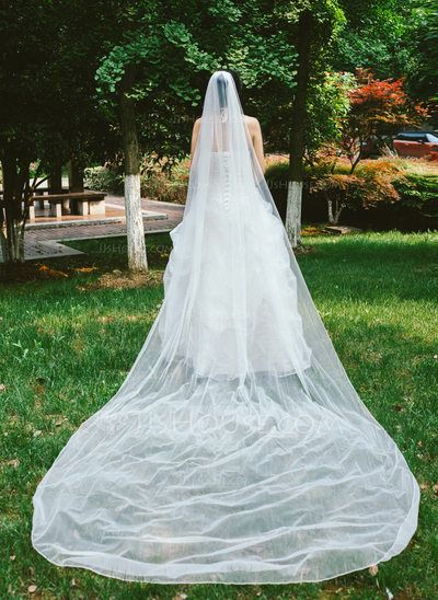 Cathedral Bridal Veils Tulle One-tier Classic Drop Veil Cut Edge ...