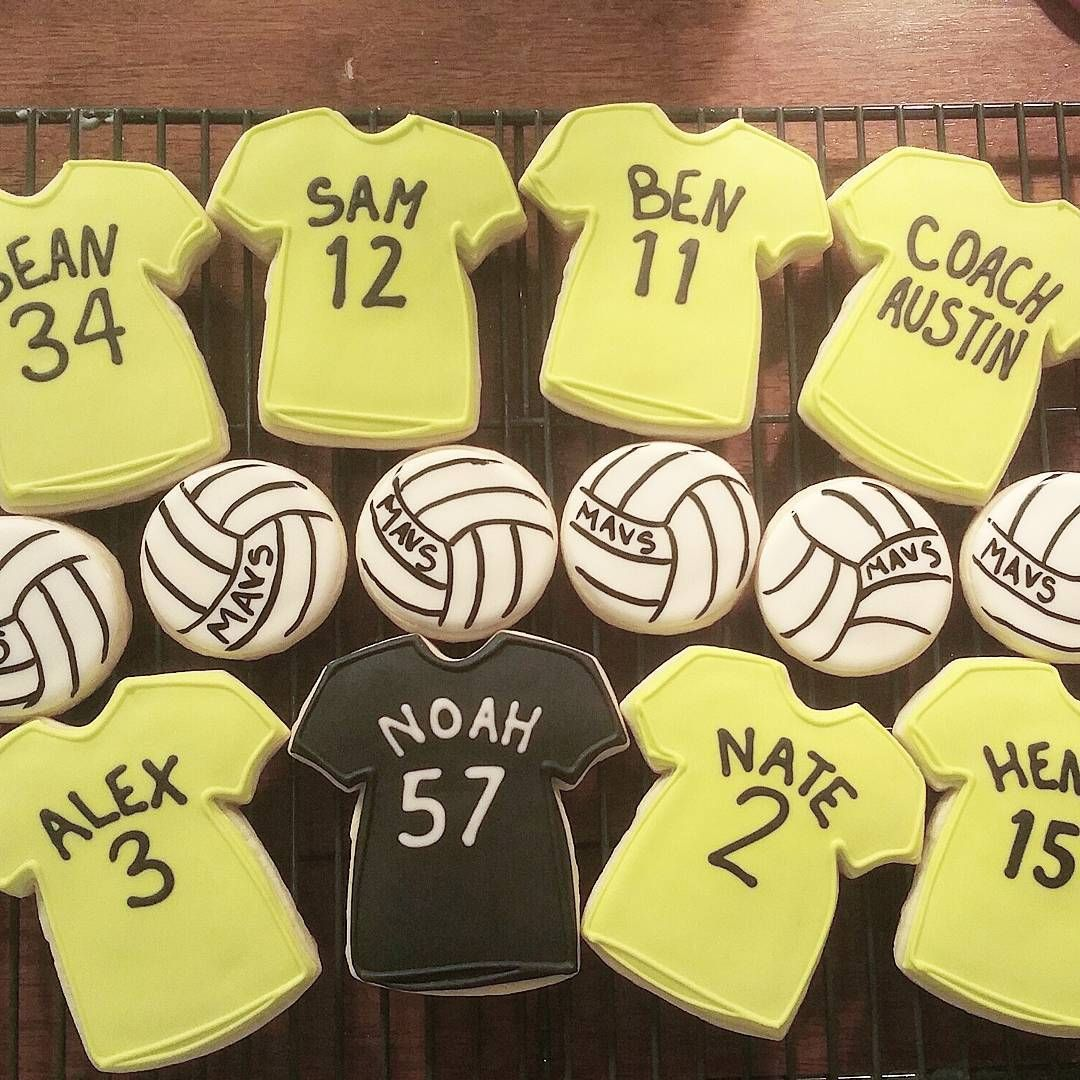 Good Luck To My Cousin At His Volleyball Tourney This Weekend Go Mavs Sweetideasbyrachel Volleyball V Volleyball Cookies Cookie Decorating Royal Icing