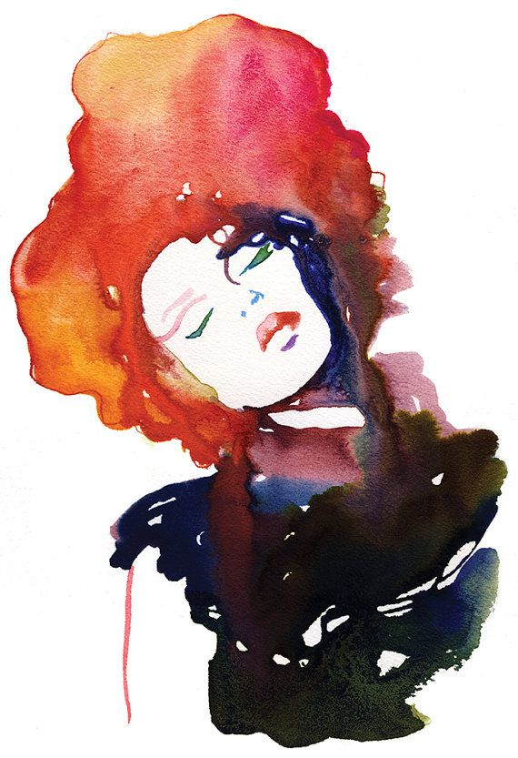 Archival Prints of Watercolor Fashion Illustration by Cate Parr. Titled: Model Ink2