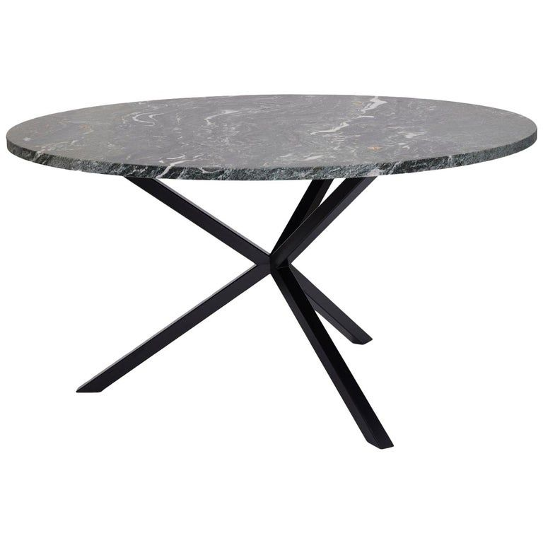 Contemporary Neb Round Dining Table Stone Top And Metal Legs By