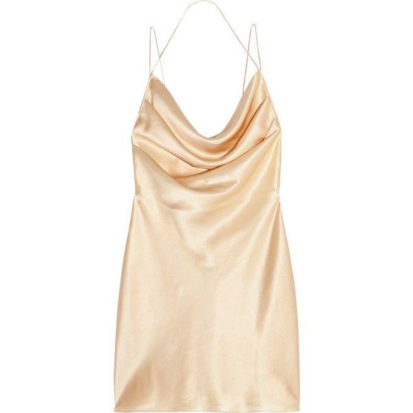 7cb74cae522a Saint Laurent Silk-satin mini dress found on Polyvore featuring dresses,  dresses/gowns, saint laurent, gold, draped dress, grunge dress, yves saint  laurent, ...
