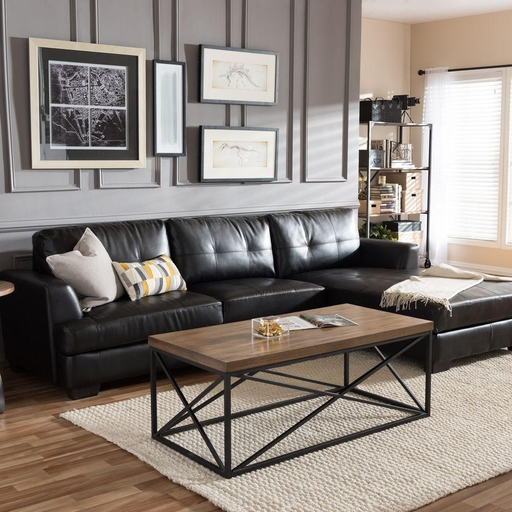 Dobson Modern And Contemporary Bonded Leather 2 Piece Sectional Sofa In Black Black Sofa Living Room Leather Couches Living Room Black Couch Living Room