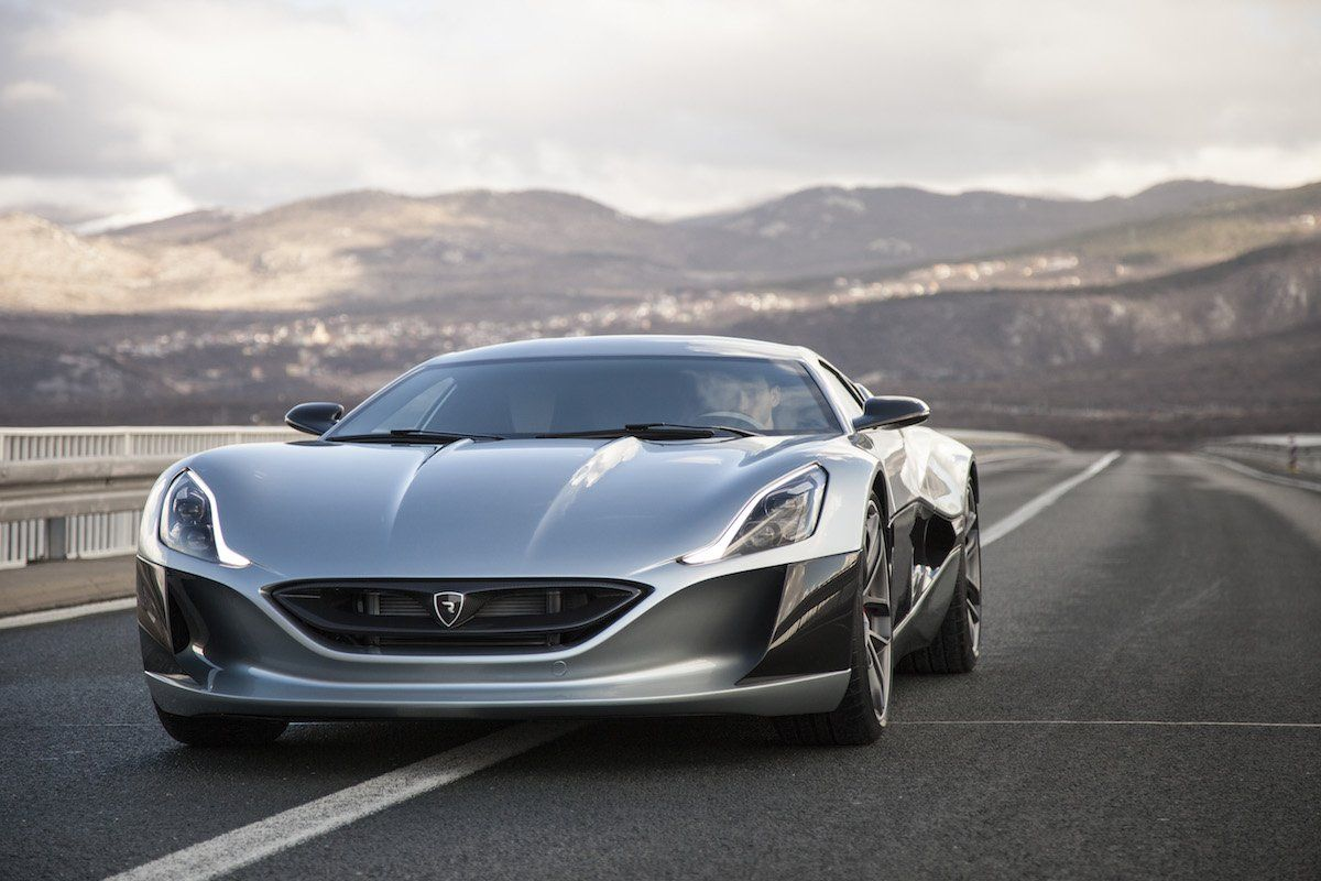 4 Croatian Car Manufacturer Rimac Showed Off Its Concept One Electric Supercar At The Geneva Motor Show In Ma Electric Sports Car Super Cars Geneva Motor Show