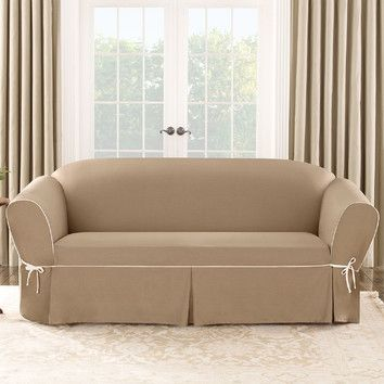Sure Fit Contrast Cord Cocoa Sofa Slipcover   Overstock Shopping   Big  Discounts On Sure Fit Sofa Slipcovers