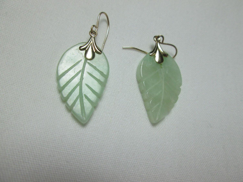 lovely CARVED leafy light GREEN jade 14kt yellow GOLD pierced dangle elegant earrings by vintagejewels4u on Etsy