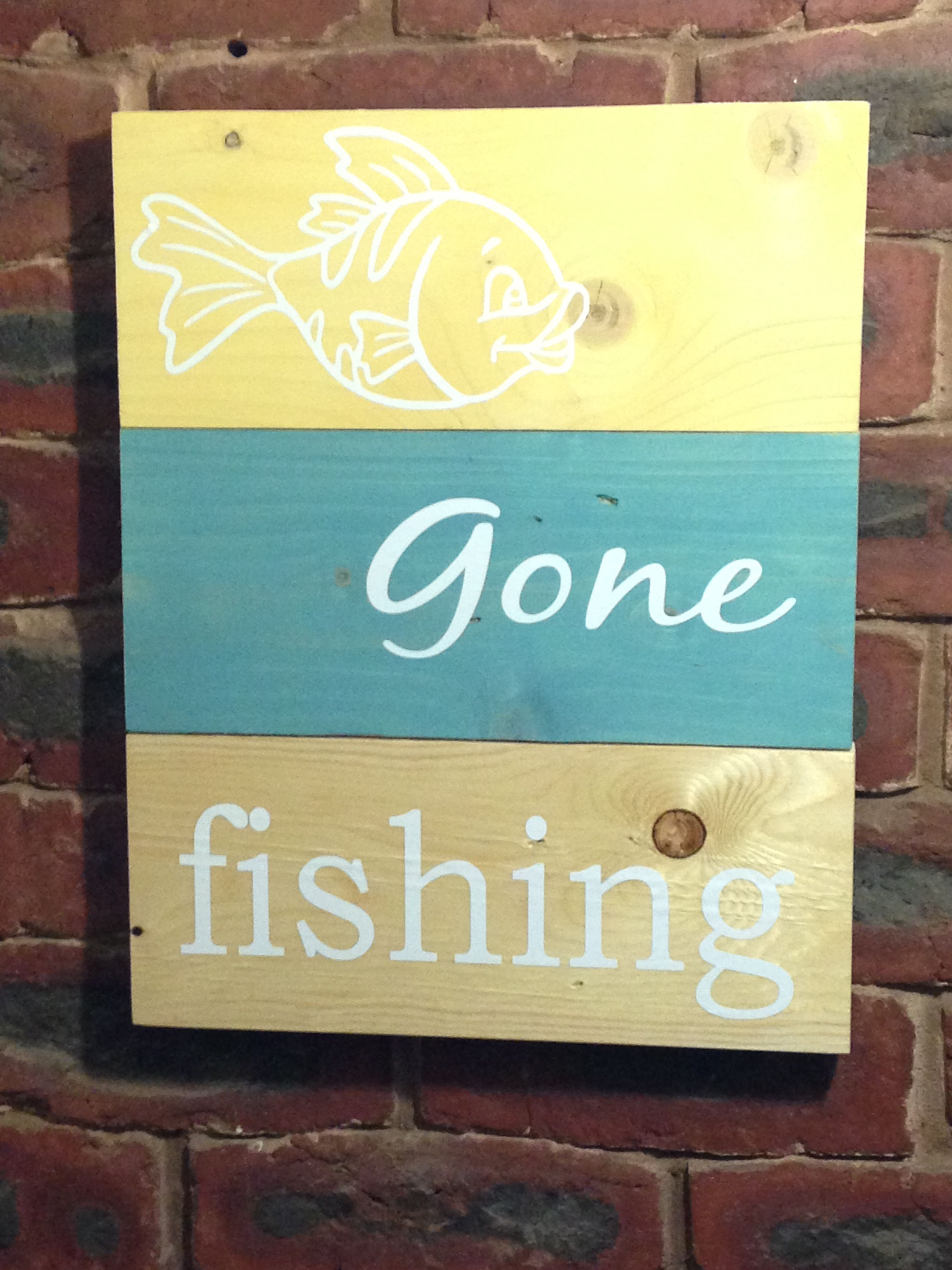 Wooden wall art Beach house sign Gone fishing | Wooden signs ...