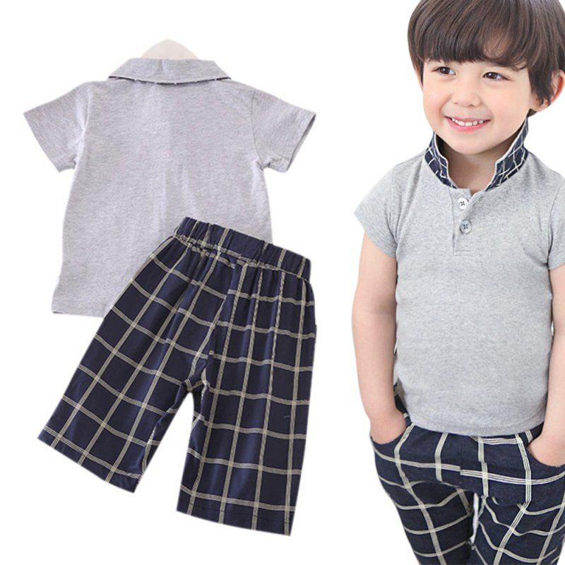 EFINNY Summer Baby Boy Casual Cartoon Print Short Sleeve T-Shirt Shorts Set Toddler Cotton Outfits