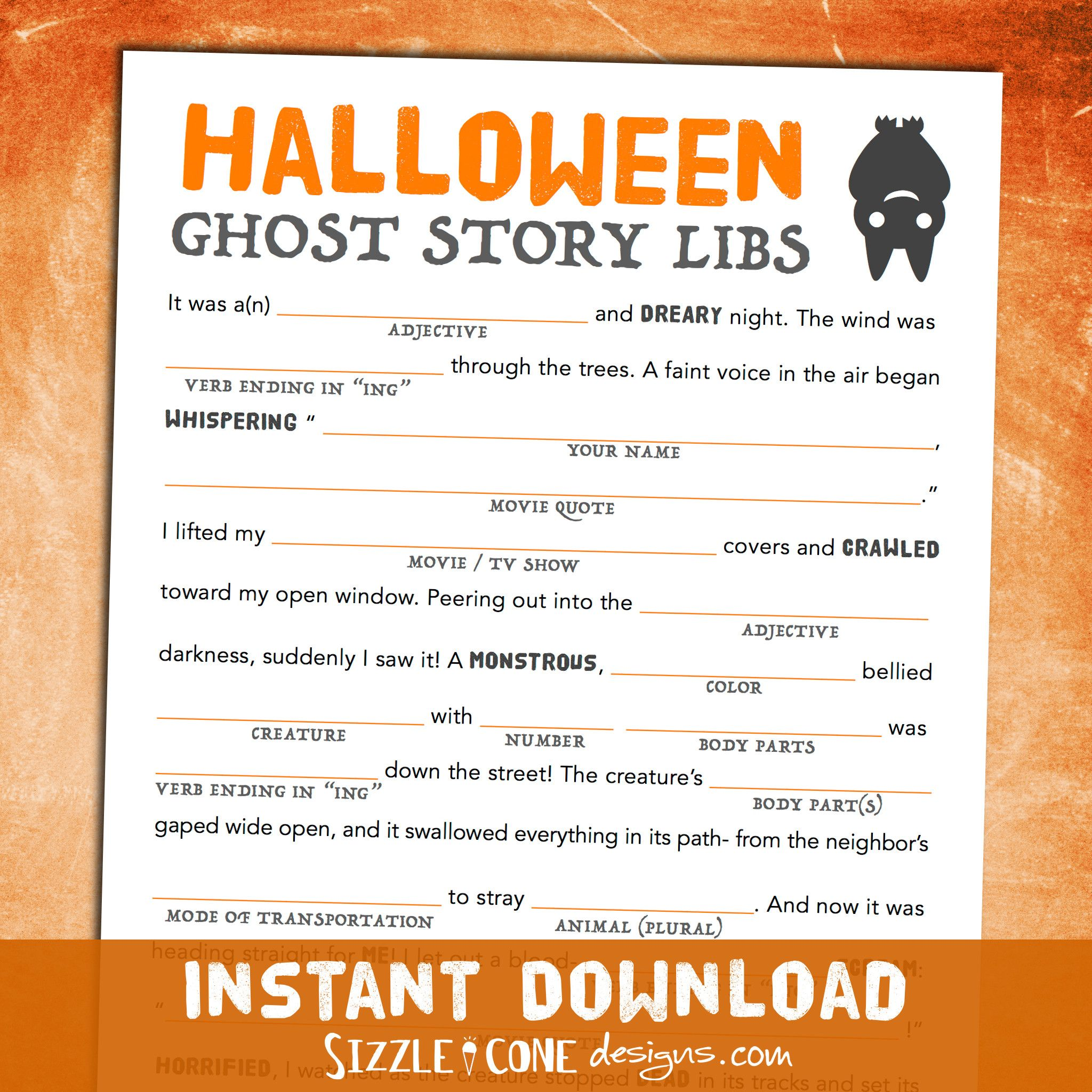 Scary Halloween Mad Lib for Adults, Teens, & Kids - Ghost Story ...