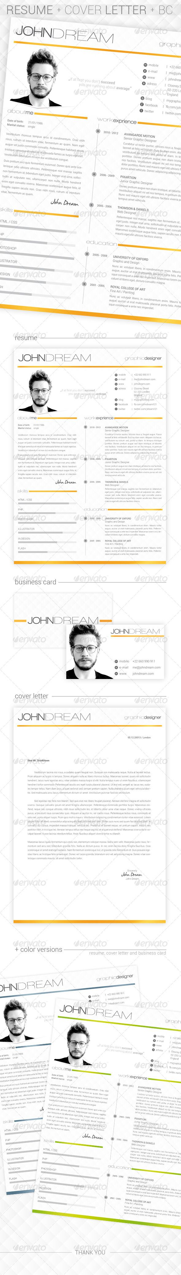 JDream - Resume + Cover Letter + BC #GraphicRiver JDream is a clean one page resume and cover letter print template suitable for graphic designers, photographers and creative people. BONUS: business card A4 Size (210×297mm) + 3mm bleed US Letter Size + 0.25 bleed 300 DPI CMYK – Print Ready 3 Color Version Free Fonts Used Completely Editable Fonts: Roboto Walkway James Fajardo Person Image is not include Other resumes Created: 11 December 13 Graphics Files Included: Photoshop PSD Layered: Yes…