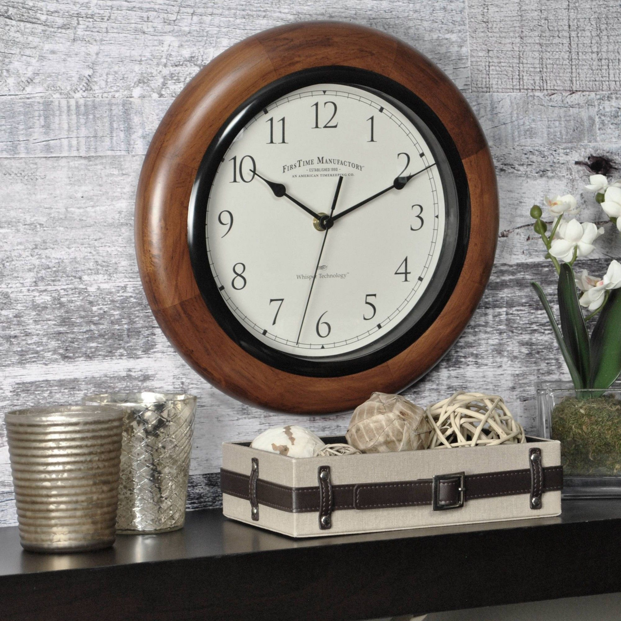 11 Casual Round Wall Clock Walnut Finish Firstime Round Wall Clocks Distressed Wall Clock Large Digital Wall Clock