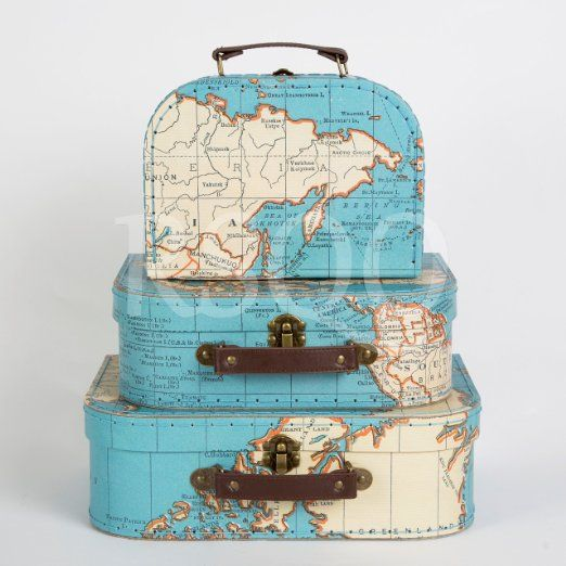 Sass belle set of 3 world map suitcases storage boxes a sass belle set of 3 world map suitcases storage boxes gumiabroncs Image collections