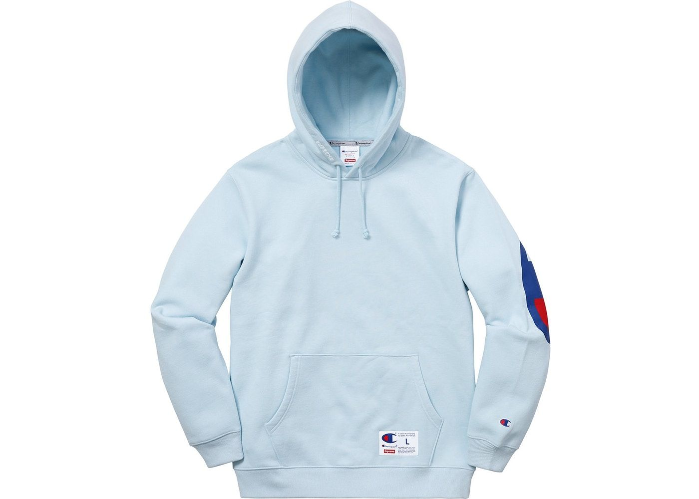 be6cb5a2 Check out the Supreme Champion Hooded Sweatshirt (SS18) Light Blue  available on StockX
