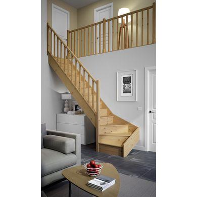 Escaliers quart tournant bas bois standard escalier bois for Escalier standard