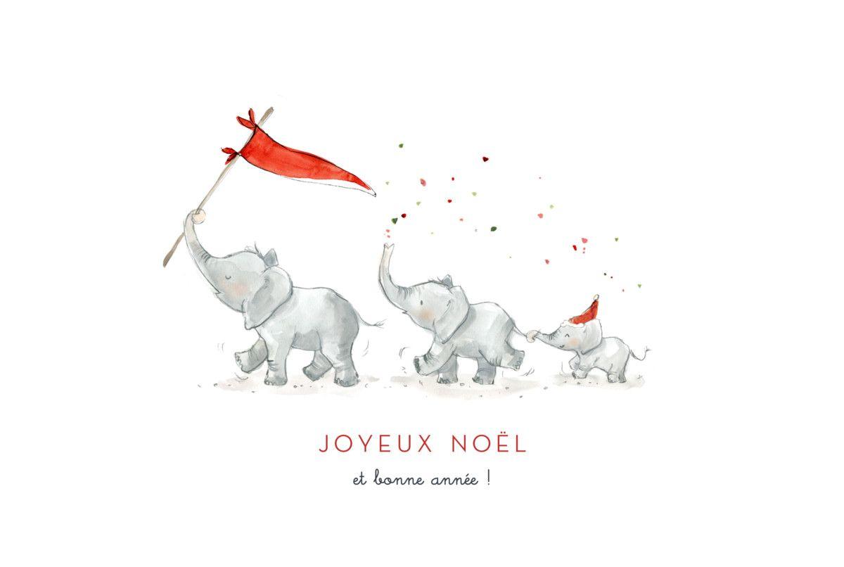 La Carte De Voeux Le Noel Des 3 Elephants De L Atelier Rosemood