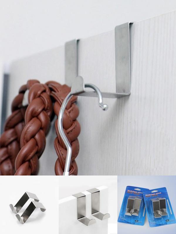 Sliver Wall Door Hooks Holder For Key Clothes Coat Hat Towel Hanger Organization