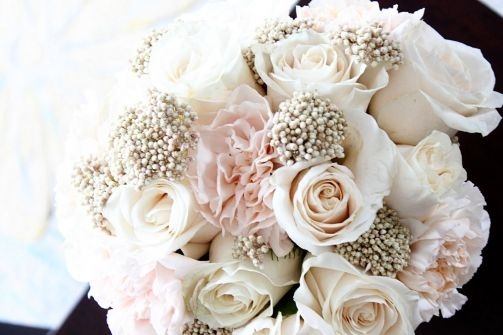 rice flower, riceflower, ivory roses, lizzy carnations, bridesmaid bouquet