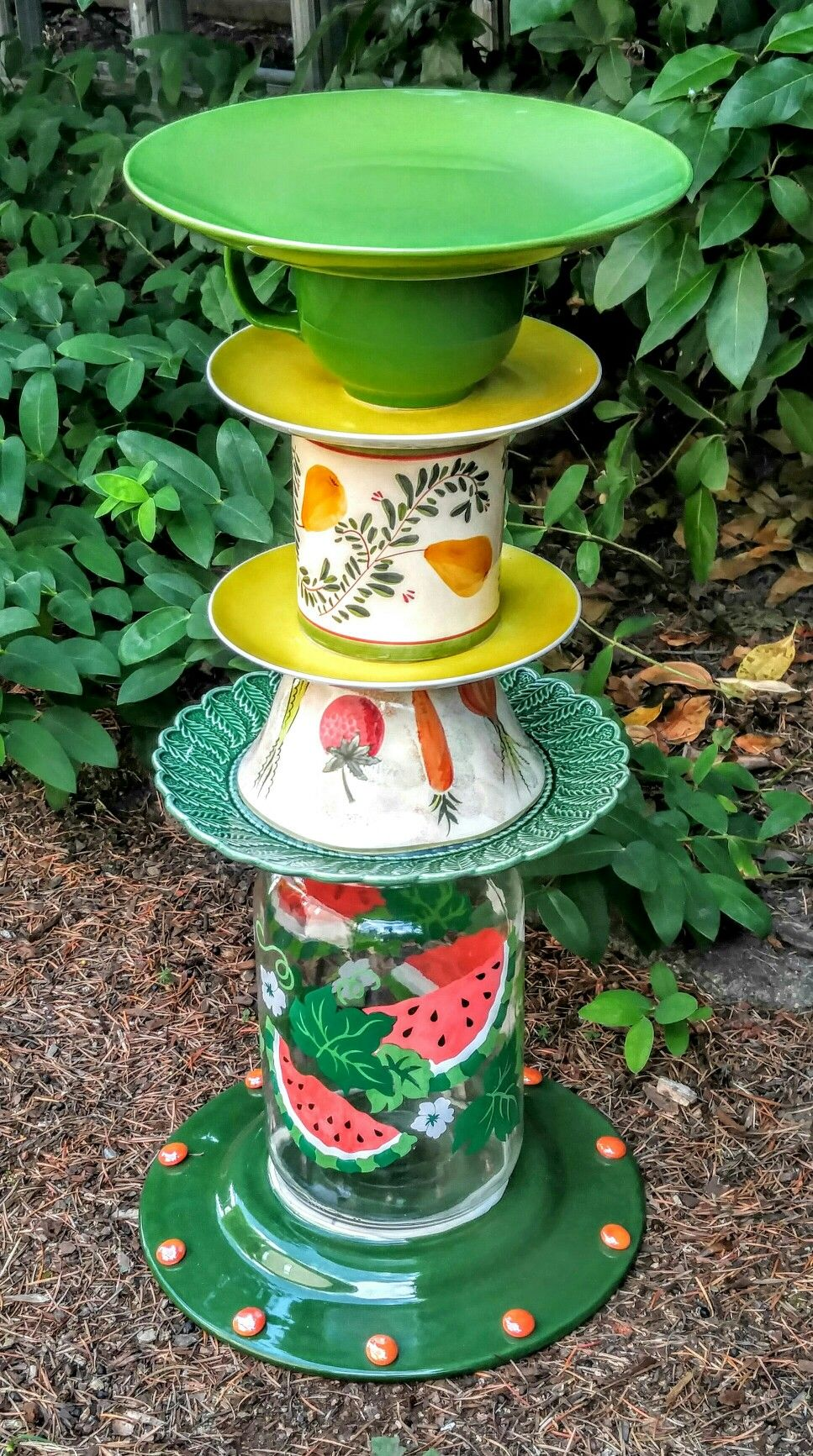 Thrifted items upcycled into birdbaths or garden decor. Becky Clardy ...
