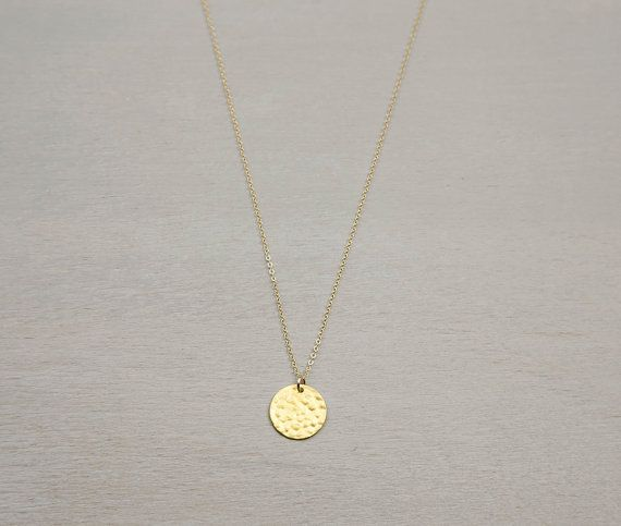 Hammered Gold Disc Necklace Personalized Initial Pendant