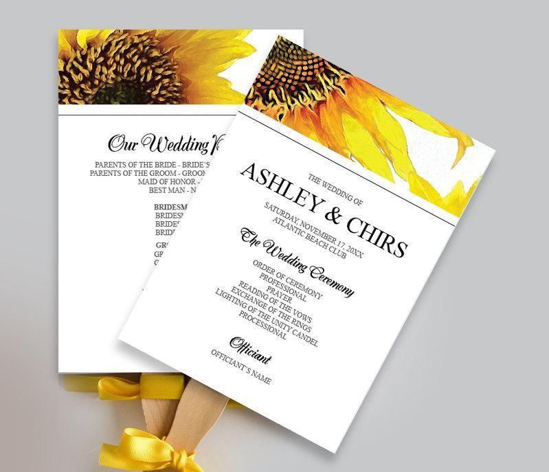 wedding printable yellow sunflower wedding program fan diy