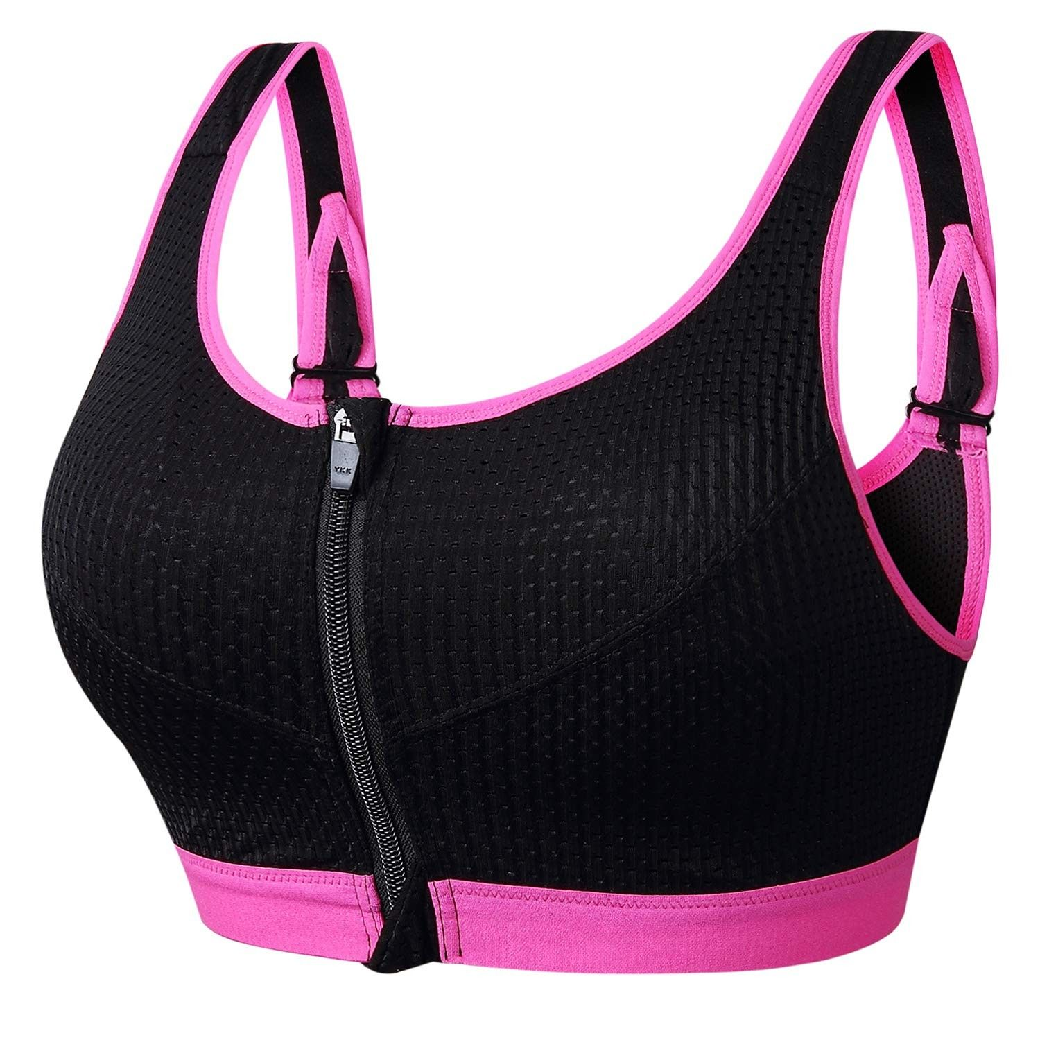 Women's Support Push Up Zip Front Close Padded Adjustable